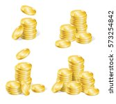 realistic golden coin stack set ... | Shutterstock .eps vector #573254842