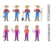 farmer character design vector. | Shutterstock .eps vector #573256042