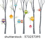 Happy Owl Background With Tree...