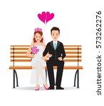 happy cute groom and bride... | Shutterstock .eps vector #573262276