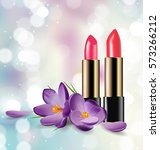 red and pink lipstick on... | Shutterstock .eps vector #573266212