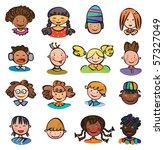 kids faces. | Shutterstock .eps vector #57327049