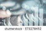 double exposure of city  graph... | Shutterstock . vector #573278452