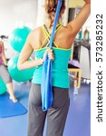 young white woman is training... | Shutterstock . vector #573285232