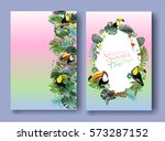 toucans in the tropical forests ... | Shutterstock .eps vector #573287152