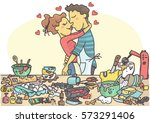 woman and man kissing while... | Shutterstock .eps vector #573291406