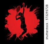 woman tennis player serve... | Shutterstock .eps vector #573293728