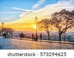 tourists admire the panoramic... | Shutterstock . vector #573294625