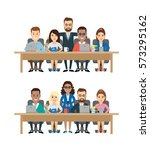 business team meeting... | Shutterstock .eps vector #573295162