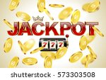 red glossy jackpot text with... | Shutterstock .eps vector #573303508