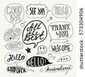 hand drawn set of speech... | Shutterstock .eps vector #573304906