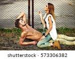 portrait of beautiful couple....   Shutterstock . vector #573306382