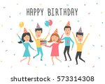 happy birthday card. birthday... | Shutterstock .eps vector #573314308