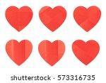 set of various folded red heart ... | Shutterstock . vector #573316735