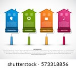 infographic with a roller brush.... | Shutterstock .eps vector #573318856