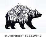 Decorative double exposure bear with nature pine forest, rocky mountain landscape range and moon. Isolated vintage vector illustration. Tattoo, travel, adventure, wildlife symbol. The great outdoors. | Shutterstock vector #573319942