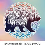 decorative double exposure bear ... | Shutterstock .eps vector #573319972