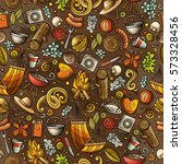 cartoon cute hand drawn picnic... | Shutterstock .eps vector #573328456