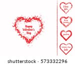 set of isolated grunge hearts... | Shutterstock .eps vector #573332296