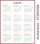 calendar for 2019 year. week...   Shutterstock .eps vector #573341986