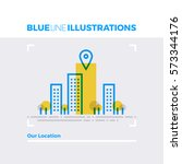 blue line illustration concept... | Shutterstock .eps vector #573344176