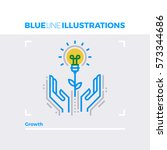 blue line illustration concept... | Shutterstock .eps vector #573344686