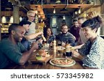diverse people hang out pub... | Shutterstock . vector #573345982
