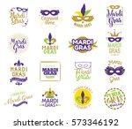 mardi gras typography set.... | Shutterstock .eps vector #573346192