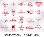 happy valentines day typography ... | Shutterstock .eps vector #573346342