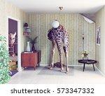 giraffe in the living room....   Shutterstock . vector #573347332