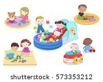 children playing with toys in... | Shutterstock .eps vector #573353212