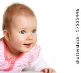 Happy five months old baby girl with blue eyes smiling - stock photo