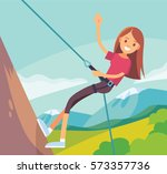 illustration with girl climbing ... | Shutterstock .eps vector #573357736
