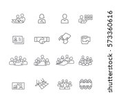 business and meeting set icons...   Shutterstock .eps vector #573360616