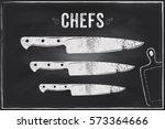 chefs knife. vector sketch...   Shutterstock .eps vector #573364666