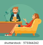 illustration with psychoanalyst'... | Shutterstock .eps vector #573366262