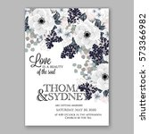 anemone wedding invitation card ... | Shutterstock .eps vector #573366982