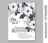 anemone wedding invitation card ... | Shutterstock .eps vector #573366982