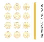 mandala gold tattoo. ... | Shutterstock . vector #573376555