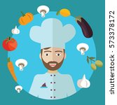 vector illustration of chef ... | Shutterstock .eps vector #573378172