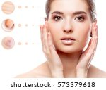 concept of skin problem of... | Shutterstock . vector #573379618