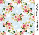 seamless floral pattern with... | Shutterstock .eps vector #573385636