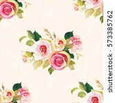 seamless floral pattern with... | Shutterstock .eps vector #573385762