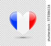 french flag heart icon on...   Shutterstock .eps vector #573386116