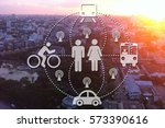 car sharing high angle traffic...   Shutterstock . vector #573390616