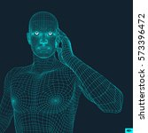 man in a thinker pose. 3d model ... | Shutterstock .eps vector #573396472