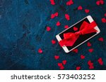 modern mobile phone decorated... | Shutterstock . vector #573403252