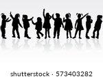 vector silhouette of children... | Shutterstock .eps vector #573403282