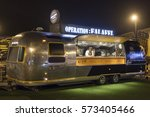 Small photo of DUBAI, UAE - DEC 4, 2016: Airstream caravan Falafel food truck at the Last Exit food trucks park on the E11 highway between Abu Dhabi and Dubai