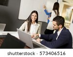 young successful managers... | Shutterstock . vector #573406516